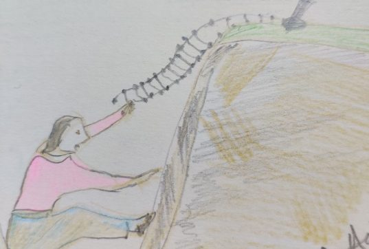 Drawing of a woman stuck in a valley, trying to reach a rope ladder to climb up. It illustrates an article which is about getting ourselves unstuck from a place where we feel trapped